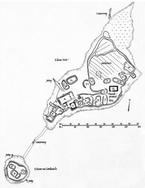 A ground plan of a promontory with the remains of rectangular and sub-rectangular structures and cultivation areas with a causeway leading to a small island with the remains of 3 structures
