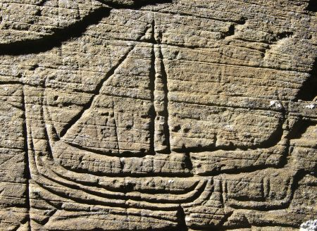Figure 19: Graffiti from Kilchattan Church, Isle of Luing, Argyll, possibly showing Viking ships or medieval galleys and highlighting another research resource, ©Colin Martin and Paula Martin.