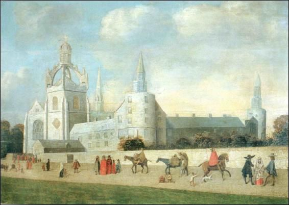 Figure 51: A painting from c.1640 showing red-gowned students outside King's College chapel in the University of Aberdeen. Current archaeological excavations are focussing on the site of the late medieval grammar school that can be seen here as a low building abutting the street wall in front of the College, © University of Aberdeen