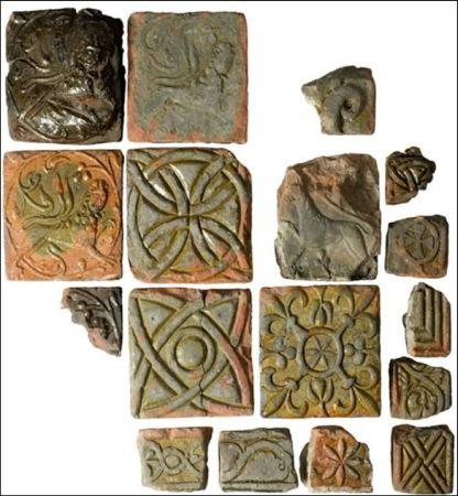 Figure 56: Remarkably only one medieval tile kiln has ever been located in Scotland in the grounds of North Berwick nunnery, the group of highly decorated tiles in this photograph were recovered from the 1929 excavations