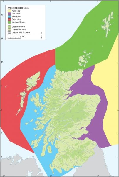 Figure 1: The Scottish coastal and off-shore waters, divided for the purposes of the Strategic Environmental Assessment (SEA) regions, in order that they could be evaluated for cultural heritage potential © BERR.