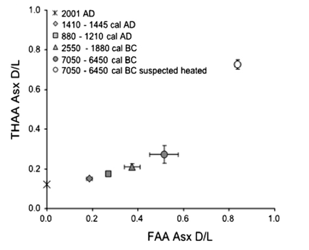 Figure 10: Free amino acids (FAA) vs Total hydrolysable amino acids (THAA) plot for Asx D/L measured in Scottish archaeological Patella
