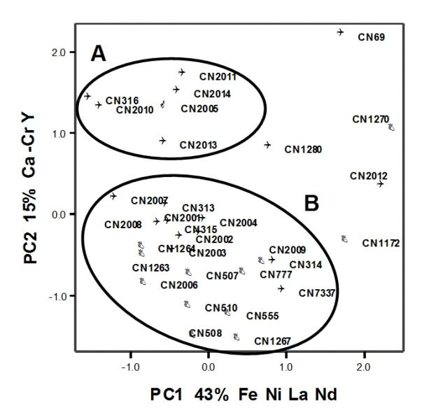 Figure 18: Typical PC plot showing the classification of ICP-ES compositions of ceramic material from site CN