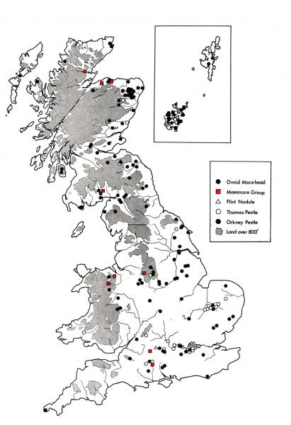 A map showing the distribution of maceheads in Scotland and England