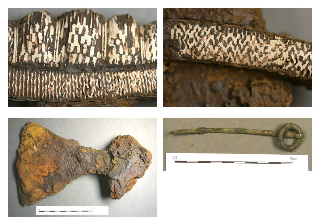 A composite image of four photographs showing metal objects including a decorative sword pommel and guard, corroded axe head and intact ring headed pin