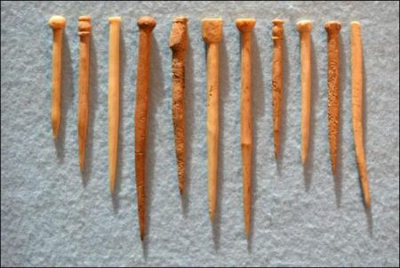 Selected at random from the Udal worked bone assemblage are, from the left- four bone pins from Iain Crawford's Early Medieval (Pictish) phase, the next three are Viking, with the four on the right being from the Norse or late Norse period. Although there are differences, the similarities in styles across these phases are more striking © Beverly Ballin Smith)