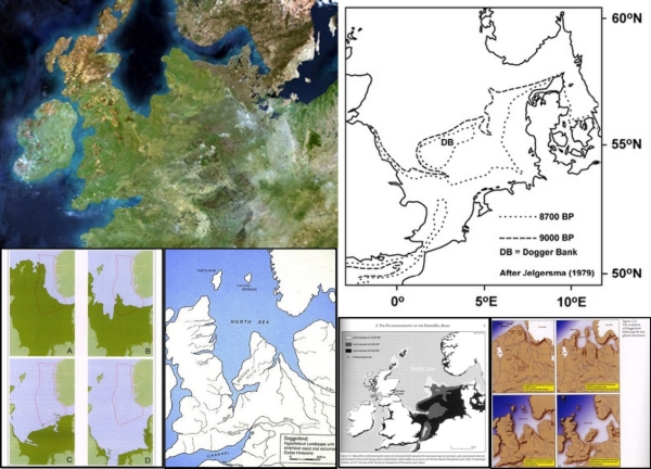 A composite image of satellite imagery and maps illustrating different models of past sea-level