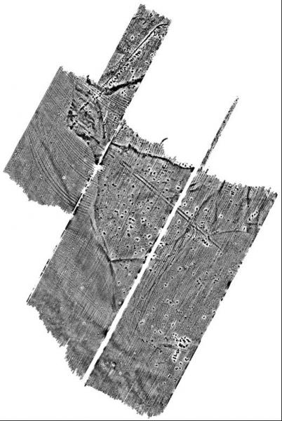 An image showing the combined results of airborne laser scanning and geophysical survey on a landscape with archaeological features
