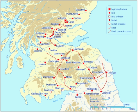 A map showing the distribution of Flavian sites concentrated around the south and east of Scotland