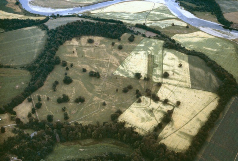 An aerial photograph showing square and linear cropmarks extending across arable fields