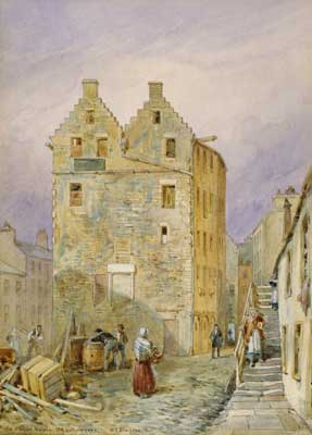 A painting of a busy townscape showing people on a cobbled street with an industrial 6 storey building in the background