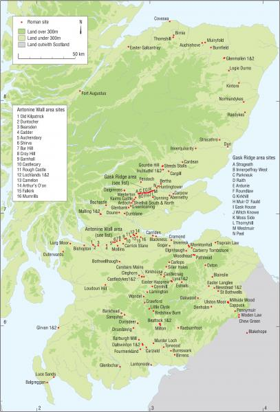A map of Scotland showing the distribution of Roman sites around the country