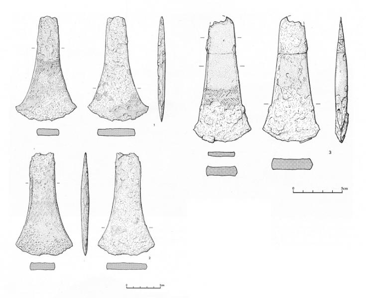 Illustration drawings of 3 degraded axeheads around 15cm in length showing the sides and profiles of each