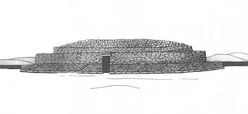 A reconstruction drawing of a large stone built stepped structure with an entrance