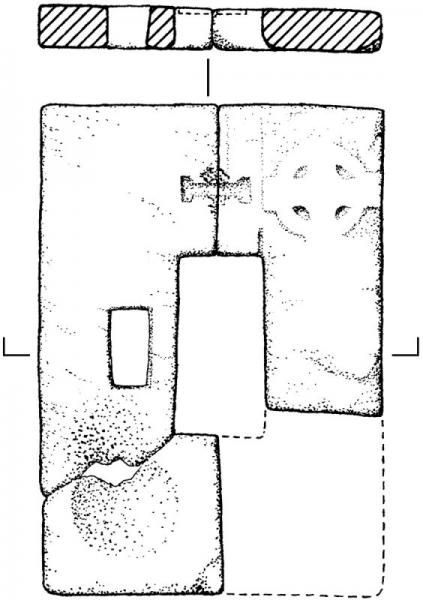 An archaeological drawing of the remains of a broken and partially missing, thin rectangular cross base, with a rectangular hole in the centre