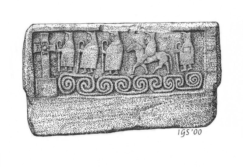 Drawing of a rectangular stone slab showing figures walking towards a cross over wavy patterns tht may represent the sea