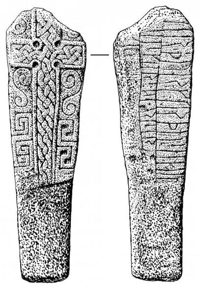 Drawing of two sides of a cross slab with a cross on one side and norse runes on the other
