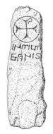 Drawing of a rectangular standing stone with a square cross within a circle at the top and two lines of writing below