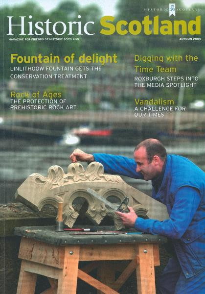 Front cover of Historic Scotland magazine showing a stone carver at work