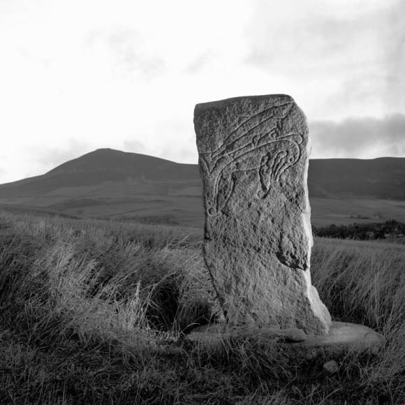 Black and white photo of a standing stone, carved with a fish and a mythical creature, in a grassy landscape with a hill behind