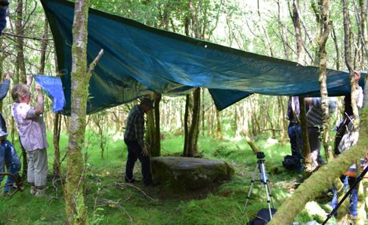 A recumbent stone in a wood with a tarpaulin suspended over it hanging between trees, and people with cameras taking photos