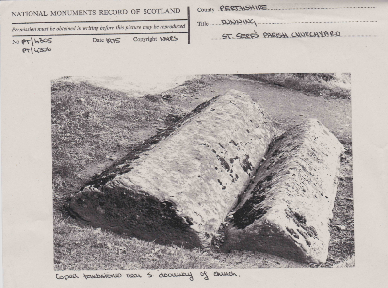 National Monuments Record card with typed and hand written details and black and white photo of two coped stombstones