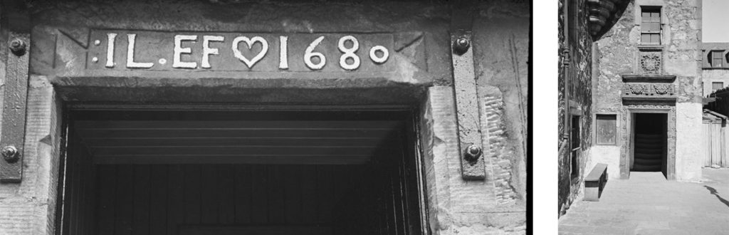 Two black and white photos of lintels above doorways - one with letters and the date 1680 and the other with garland decoration