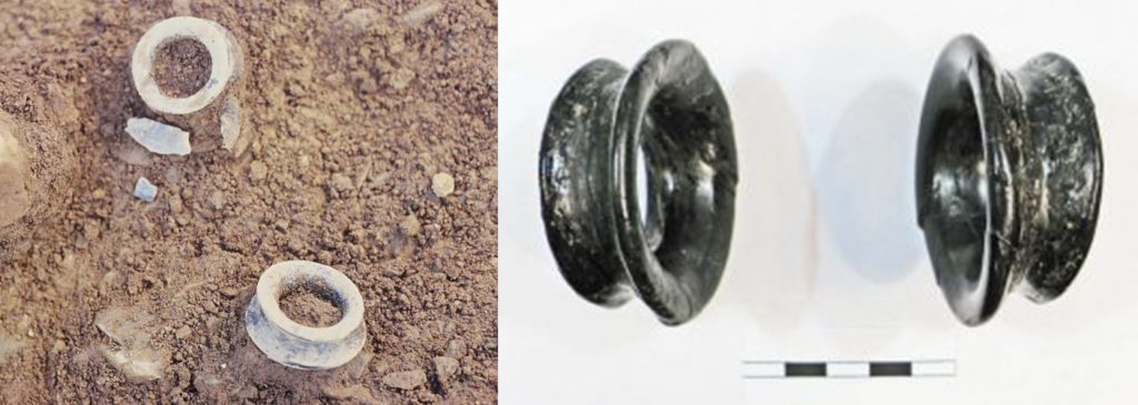 A composite image showing two chunky napkin ring shaped objects lying in soil during excavation on the left and a photograph of the rings on the right after conservation