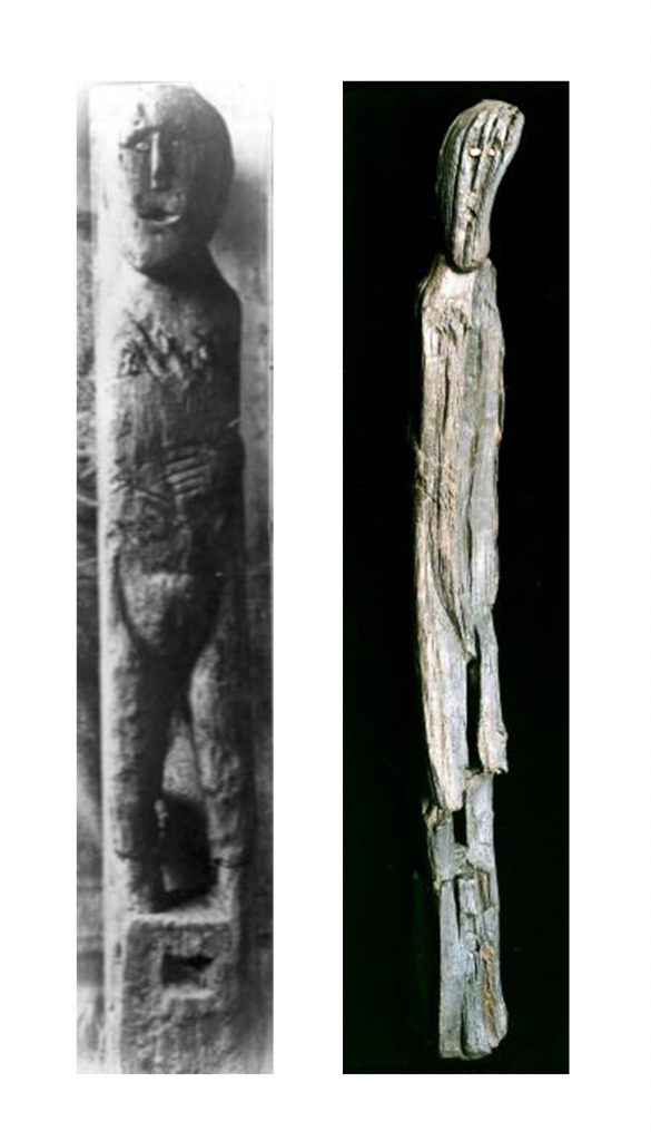 A composite image showing a carved wooden human figure on the left and a disfigured and warped wooden human figure on the right