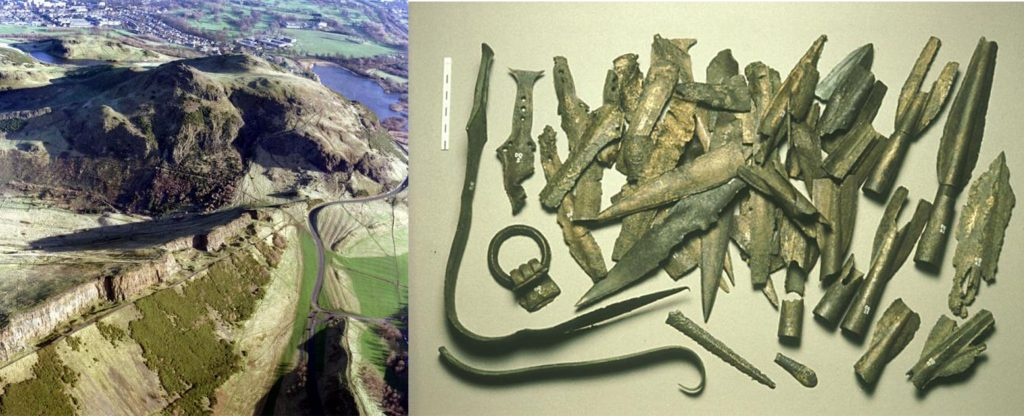 An aerial photograph showing the volcanic landscape around Arthur's Seat with the city of Edinburgh in the background and a photograph of around 40 metal artefacts including spearheads, daggers and bent swords