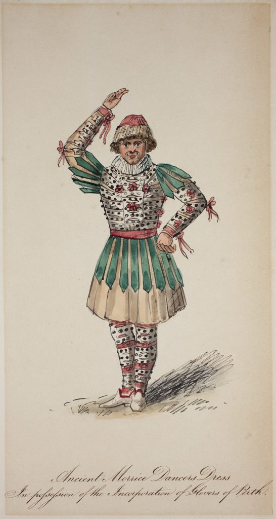 A drawing of a man dancing wearing a bright and colourful costume consisting of patterned leggings, a flared skirt, patterned top, neck ruffle and a hat