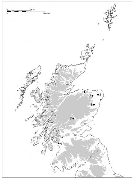 A map of Scotland showing the locations of 6 non-megalithic round barrows with a concentration in the north east