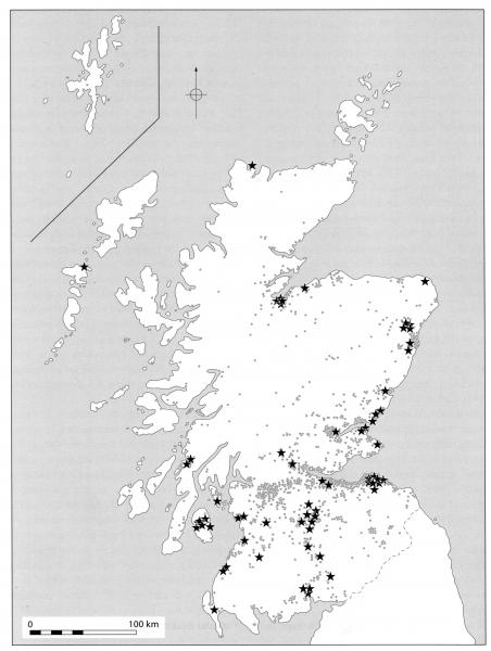 A map of Scotland showing  the distribution of Neolithic sites discovered by developor-funded archaeology and all other sites discovered in Scotland from this period