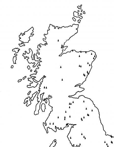 A simple outline map of Scotland and the north of England showing the distribution of non-megalithic long barrows with a concentration in the south and north east and a scatter to the west