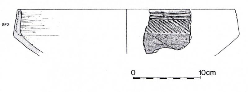 An illustration showing the profile of a vessel approximately 32cm wide reconstructed from a fragment of pot rim decorated with diagonal lines
