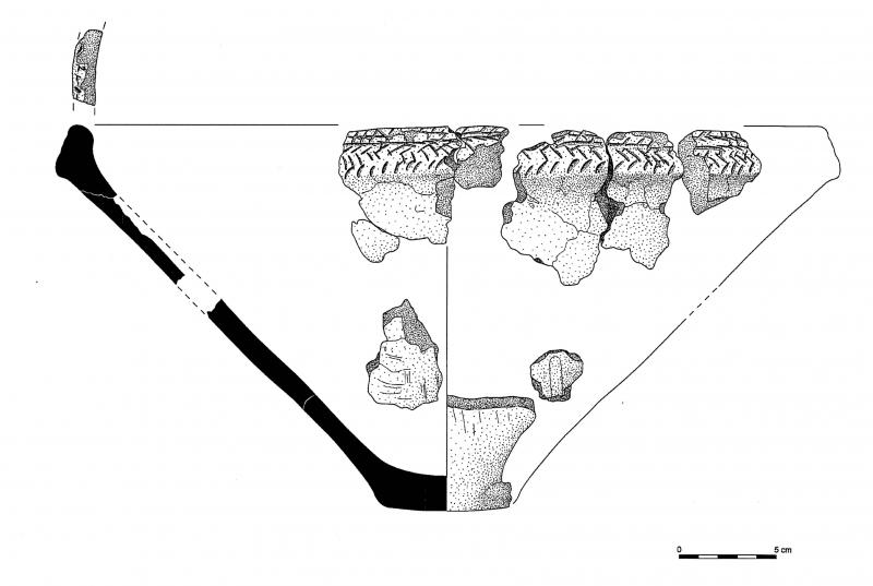 An illustration drawing showing the profile of a vessel with a narrow base reconstructed from several sherds of rim and base decorated with a herringbone pattern along the top