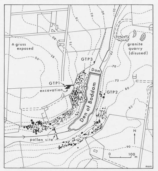 A plan showing the location of flint mines, a pollen site and an excavation in a landscape of fields