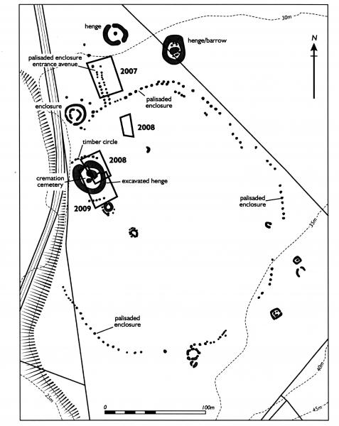 A ground plan showing a variety of prehistoric features including henges, barrows, pallisaded enclosures, a timber circle and a cremation cemetery