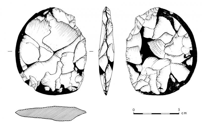 An illustration of a sub circular flint tool 10cm in length with a polished edge on one side and a sharpened edge on the other