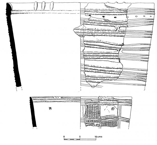 Illustration drawings showing two steep sided pots decorated with concentric grooves and lines of small diagonal indentations around the rim