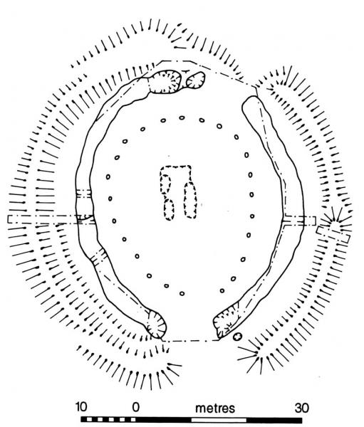A ground plan of an oval timber or stone circle 30 metres across surrounded by a ditch and bank