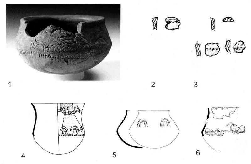A composite image showing a photograph of a wide pot decorated with small vertical lines and arcs with illustration drawings of 3 similar pots underneath
