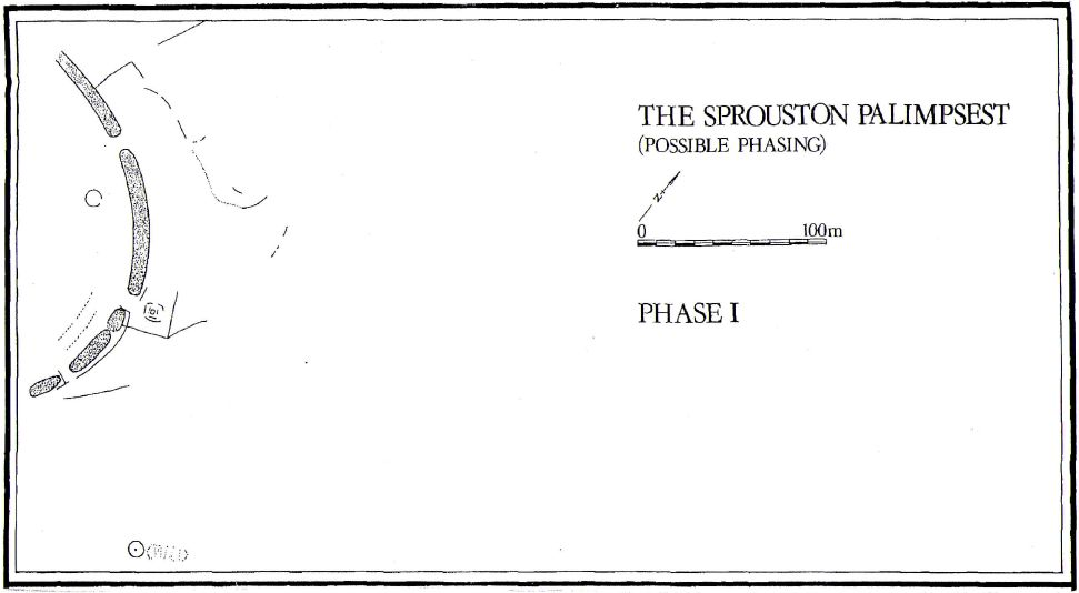 A ground plan showing part of a possible cause wayed enclosure 180 metres across with a rectangular timber post built structure and circular barrow 100 metres to the south east