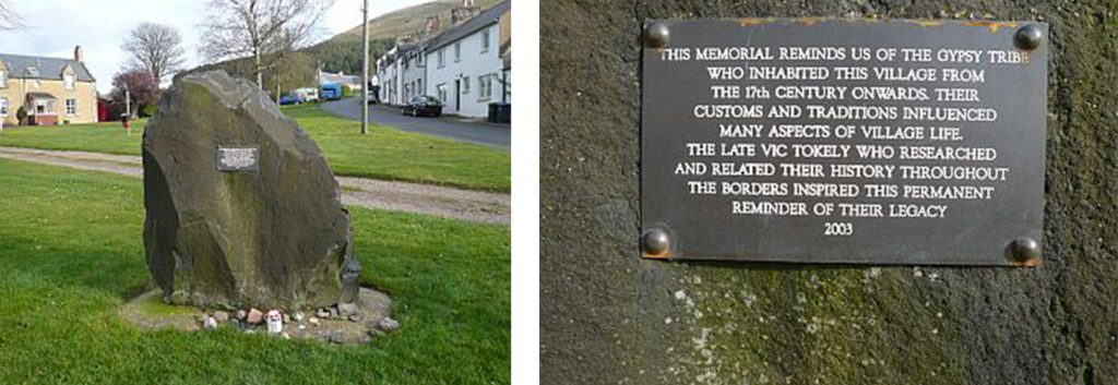 A composite image showing a memorial stone with a plaque on a village green on the left and a close up of the plaque commemorating the 'gypsy tribe' who inhabited the village from the 17th century onwards on the right