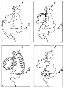 A set of maps showing different models for the mesolithic to neolithic transition period in Ireland and Briatin