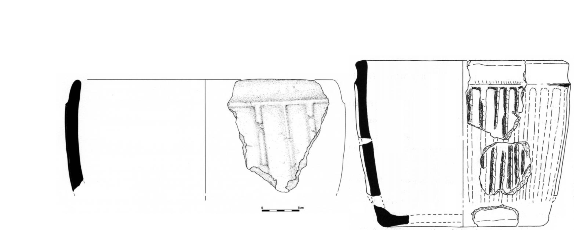 Illustration drawings of two Grooved Ware pots with the same decoration on the body and rim reconstructed from sherds