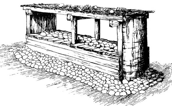 A reconstruction drawing of a raised timber built platform surrounded with stones