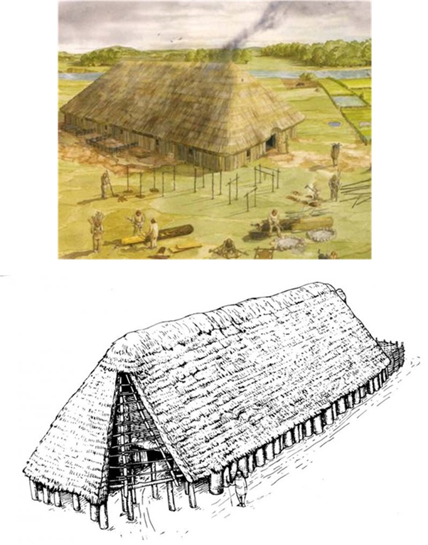 Reconstruction drawings of two substantial timber built structures with thatched roofs