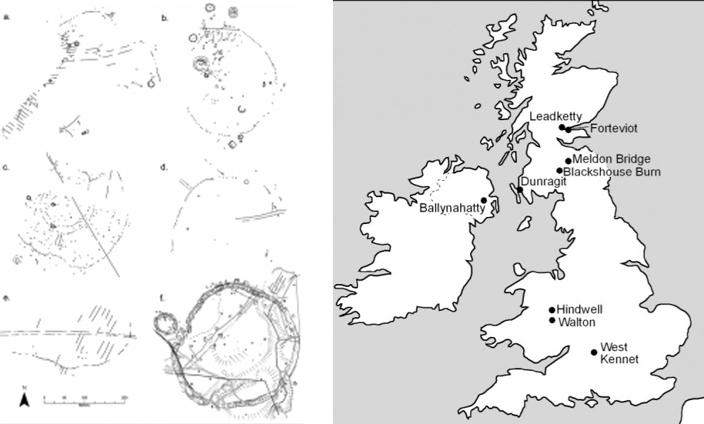 A composite image showing ground plan drawings of 6 circular enclosures in Scotland and a location map of the sites
