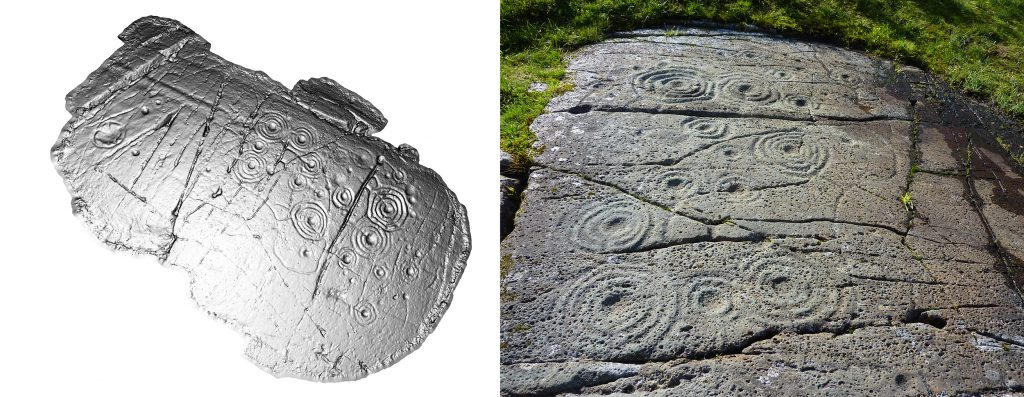 A composite image showing a 3D model and photo of cup and ring motifs on a rock outcrop
